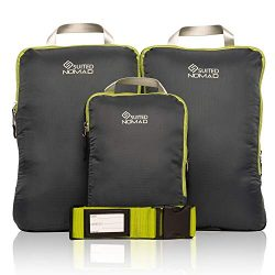 Compression Packing Cubes Set of 3,Ultralight Travel Organizer Bags and Luggage Strap