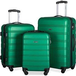 Merax Mellowdy 3 Piece Set Spinner Luggage Expandable Travel Suitcase 20 24 28 inch (Green.)