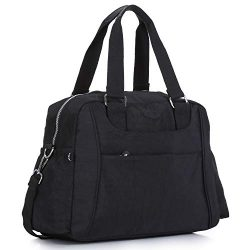 Nylon Travel Tote Cross-body Carry On Bag with shoulder strap (Black)
