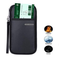 Fireproof Passport Wallet, RFID Blocking Travel Passport Wallet Family Passport Holder Credit Ca ...