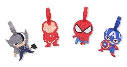 Finex Set of 4 – Avengers Captain America Iron Man Spiderman Luggage ID Tag Bags with Adju ...