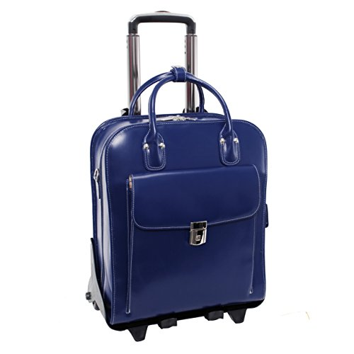 Detachable -Wheeled Women's Laptop Briefcase, Leather, Mid-Size, Blue – LA Grange |  ...