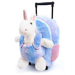 Funday Unicorn Kids Backpack with Removable Wheels – Little Kids Luggage Backpack with Stu ...