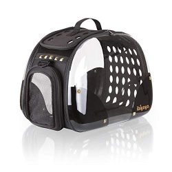 ibiyaya Top Loaded Pet Carrier for Cats and Dogs, Collapsible Made from Suitcase Material a Grea ...