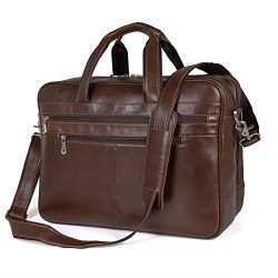 Augus Business Travel Brifecase Genuine Leather Duffel Bags for Men Laptop Bag fits 15.6 inches  ...