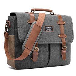 LOKASS Men Laptop Messenger Bag Vintage Genuine Leather Canvas Satchel 15.6 Inch Laptop Shoulder ...