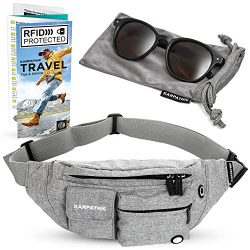 Fanny Pack for Women and Men – Travel Waist Bag with RFID Protection + Karpathic Microfibe ...