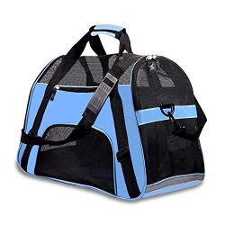 PPOGOO Pet Travel Carriers Soft Sided Portable Bags Dogs Cats Airline Approved Dog Carrier(Upgr ...