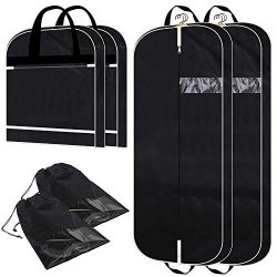 2 Pack 54″ Garment bags with extra large pockets for travel, Breathable mens womens hangin ...
