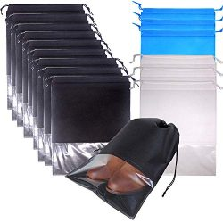 FashionBoutique 16 Pack Extra Large Shoe Bags with Clear Window Portable Travel Shoe Bags Waterp ...