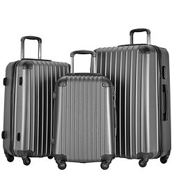 Resena Vertical Stripes 3 Pieces Luggage Sets with Spinner Wheels Lightweight Carry On Suitcase  ...