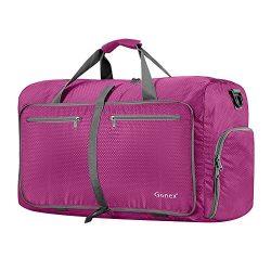 Gonex 60L Foldable Travel Duffel Bag Water & Tear Resistant, Rose Red