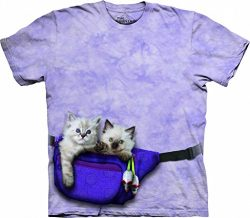 The Mountain 1036933 Fanny Pack Kittens Adult Unisex Short Sleeve T-Shirt XL Purple