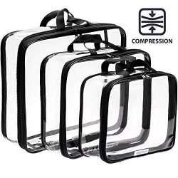 Clear Compression Packing Cubes 3 Set – Bags for Travel – Luggage Cube Organizer