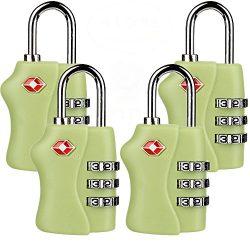 TSA Security Combination Lock Suitcase Luggage Bag Code Lock Padlock (4 Pack Green)