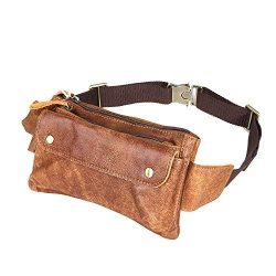 Loyofun Unisex Brown Genuine Leather Waist Bag Messenger Fanny Pack Bum Bag