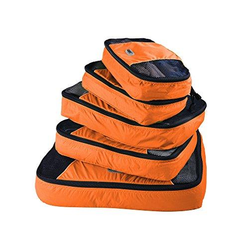 GOX Ultra Light 5 piece Packing Cubes Travel Luggage Organizer 1 Large 2 Medium 2 Small (Orange)