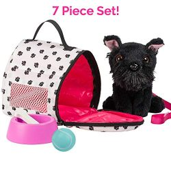 "Adora Amazing Pets ""Sadie the Black Schnauzer"" – 18"" Doll Accessory with Dog, Dog Carrier, Colla ..."