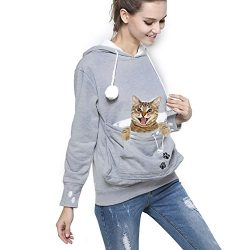 Womens Pet Carrier Shirts Kitten Puppy Holder Sweatshirt Animal Pouch Hood Tops Grey 3XL