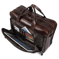 Augus Leather Briefcases for Men, Waterproof Travel Messenger Duffle Bags 17 Inch Laptop Bag (co ...