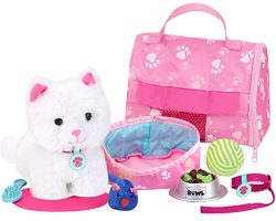 Sophia's Soft White Kitten & Accessory Set | 18″ Doll Pet Cat with Carrier, Bed  ...