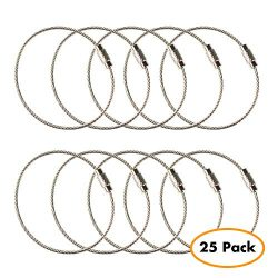 Stainless Steel Wire Keychains 2.0mm 6.3 Inches Aircraft Cable Key Ring Loops for Hanging Luggag ...