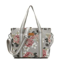 canvaslife Classic Pink Rose Pattern Waterproof Laptop Tote Bag Canvas Laptop Shoulder Messenger ...