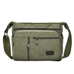 EasyHui Canvas Shoulder Messenger Bag Small Crossbody Travel Purse for Mens Womens Multi-layer L ...