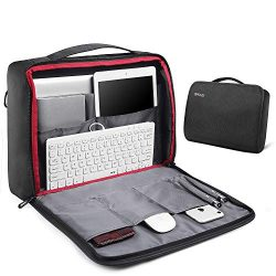 REYLEO 15.6 Inch Laptop Bag, Travel Briefcase with Organizer, 180° Main Panel Opens Shoulder Bag ...