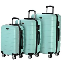Resena 3 Pieces Green Luggage Sets with Spinner Wheels Cases Lightweight Carry On Suitcase Bags