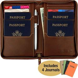 Leather Travel Wallet & Passport Holder: Passport Cover holds 4 Passports, Credit Cards, ID, ...