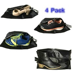 GreEco Travel Shoe Bags Set of 4 Waterproof Nylon With Zipper For Men & Women (Black)