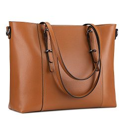 S-ZONE Leather Laptop Bag for Women Fits up to 15.6 inch Business Tote Shoulder Bag Purse (Brown)