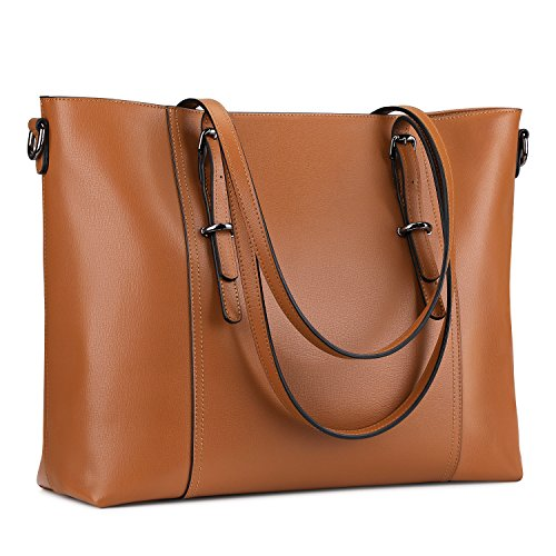 S-ZONE Leather Laptop Bag for Women Fits up to 15.6 inch Business Tote  Shoulder ddeb2c61d74e2