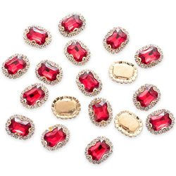 30Pcs Crystal Rhinestones Sewing on, Premium Red Rhinestones Flatback Beads Buttons with Bling D ...