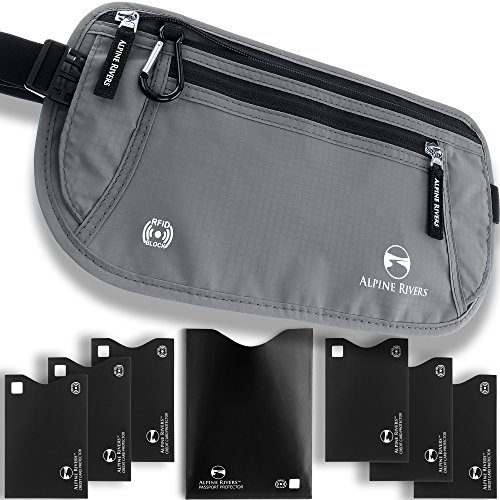 Money Belt – RFID Blocking Hidden Travel Wallet + 7 Bonus Sleeves
