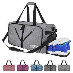 SUNPOW 65L Travel Duffle Bag, Foldable Sport Gym Bag with Shoe Compartment, Lightweight Luggage  ...