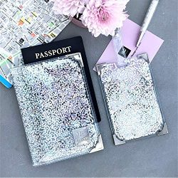 Clear and Holographic Glitter Passport Holder and Luggage Tag Set for Women, Silver Handmade Cut ...