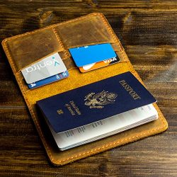 Pegai Passport Wallet, Distressed Leather Travel Wallet, Handcrafted Soft Leather Passport Holde ...