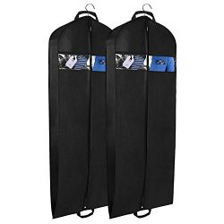 Univivi Garment Bag for Travel and Storage 60″ Breathable Suit Dress Black Garment Cover G ...