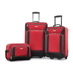American Tourister Fieldbrook XLT 3pc Set (bb/ 21/25 Upright), Red/Black
