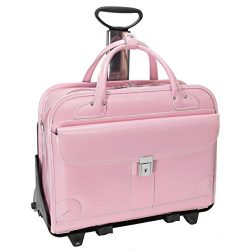 Mcklein Womens Lakewood 15.6″ Leather Detachable-wheeled Briefcase, Pink Briefcase, Pink