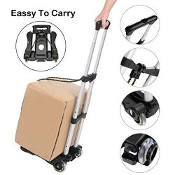 Coocheer Aluminum Folding Portable Luggage Cart Lightweight Travel Hand Truck/Heavy Duty Hand Tr ...