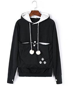 Unisex Cat Ear Big Kangaroo Pouch Hoodie Long Sleeve Pet Cat Dog Holder Carrier Sweatshirt (XXXL ...
