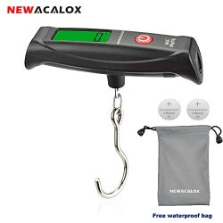 Luggage scale 110lb, 2 Battery, 1 Waterproof Bag, NEWacalox Digital Luggage Travel Scale Weigh S ...