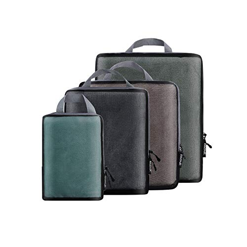 4 Set Compression Packing Cubes Travel Expandable Packing Organizers(Black Net4)