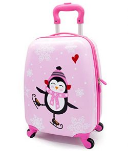 Girls Suitcase Hardshell Spinner Wheels – Kids Luggage 18 inch Carry On Penguin Travel Tro ...