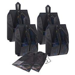 Shoe Bags for Travel 6 Pack Waterproof Organizer Storage bag for Men & Women, X Large, Black