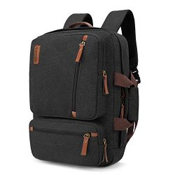 SOCKO Convertible Laptop Backpack Canvas Messenger Bag Shoulder Briefcase Multifunctional Travel ...