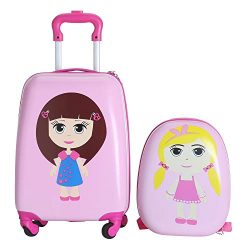 Odthelda 2PC Kids Carry On Hard Side Hard Shell Suitcase For Travel Girl Style